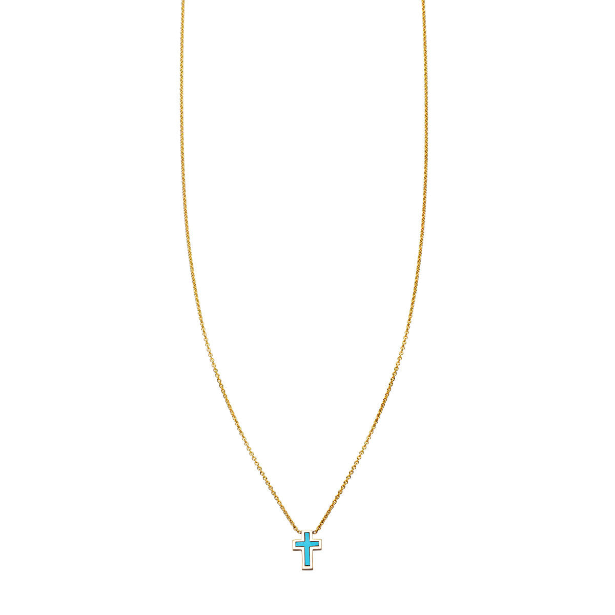 Image of Turquoise Inlaid Cross Necklace