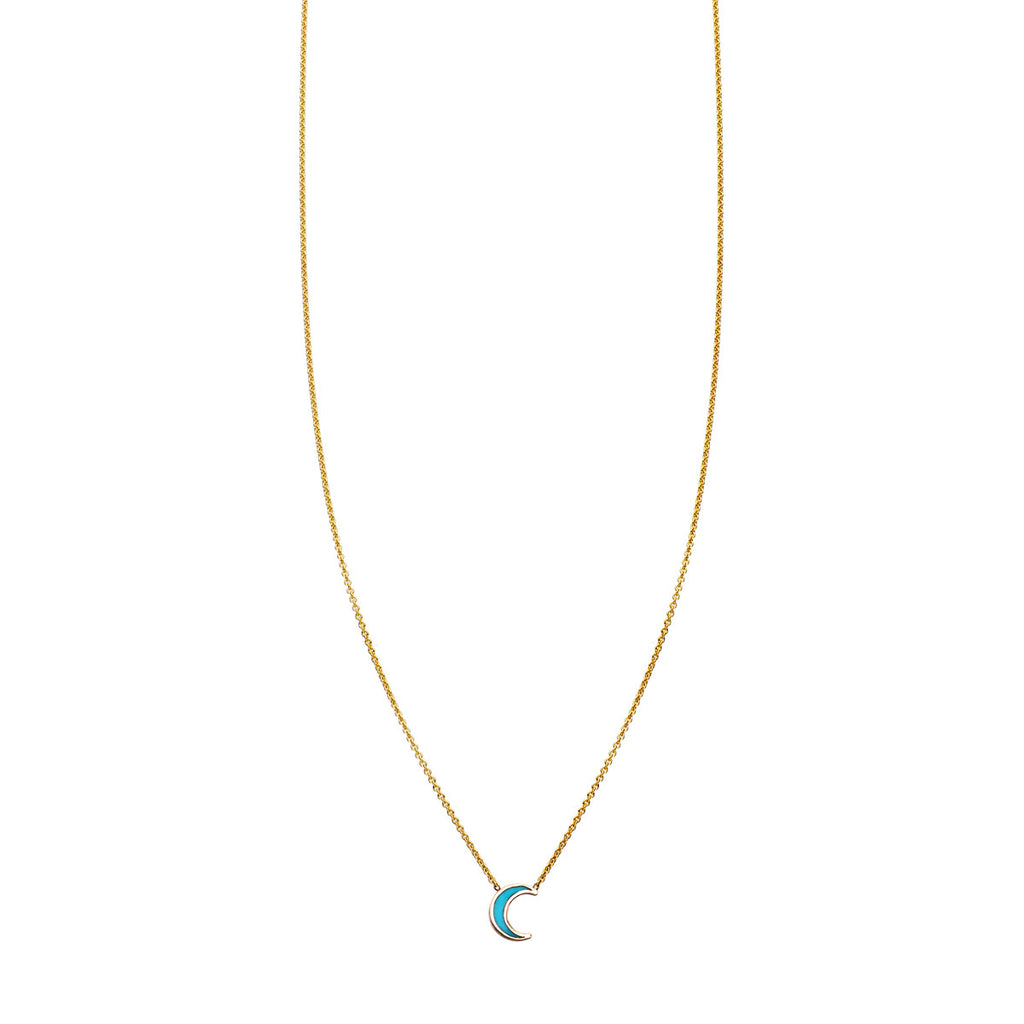 Image of Turquoise Inlaid Moon Necklace