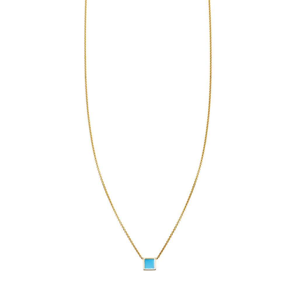 Image of Turquoise Inlaid Square Necklace