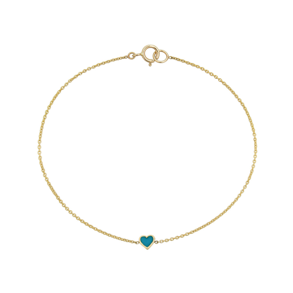 Turquoise Inlaid Tiny Heart Bracelet