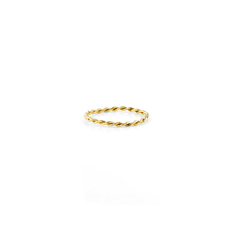 Gold twisted rope women's ring