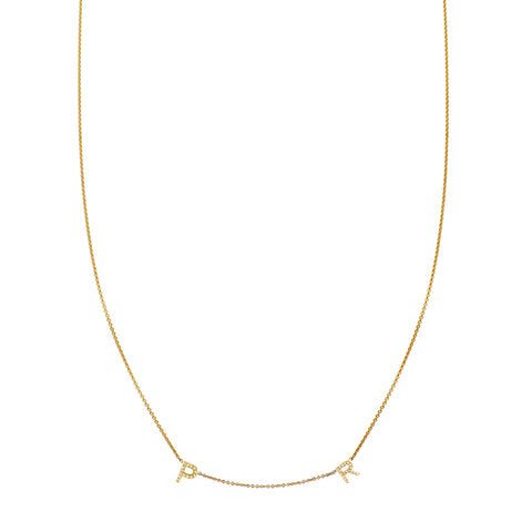 2 Letter Gold and Diamond Initial Necklace