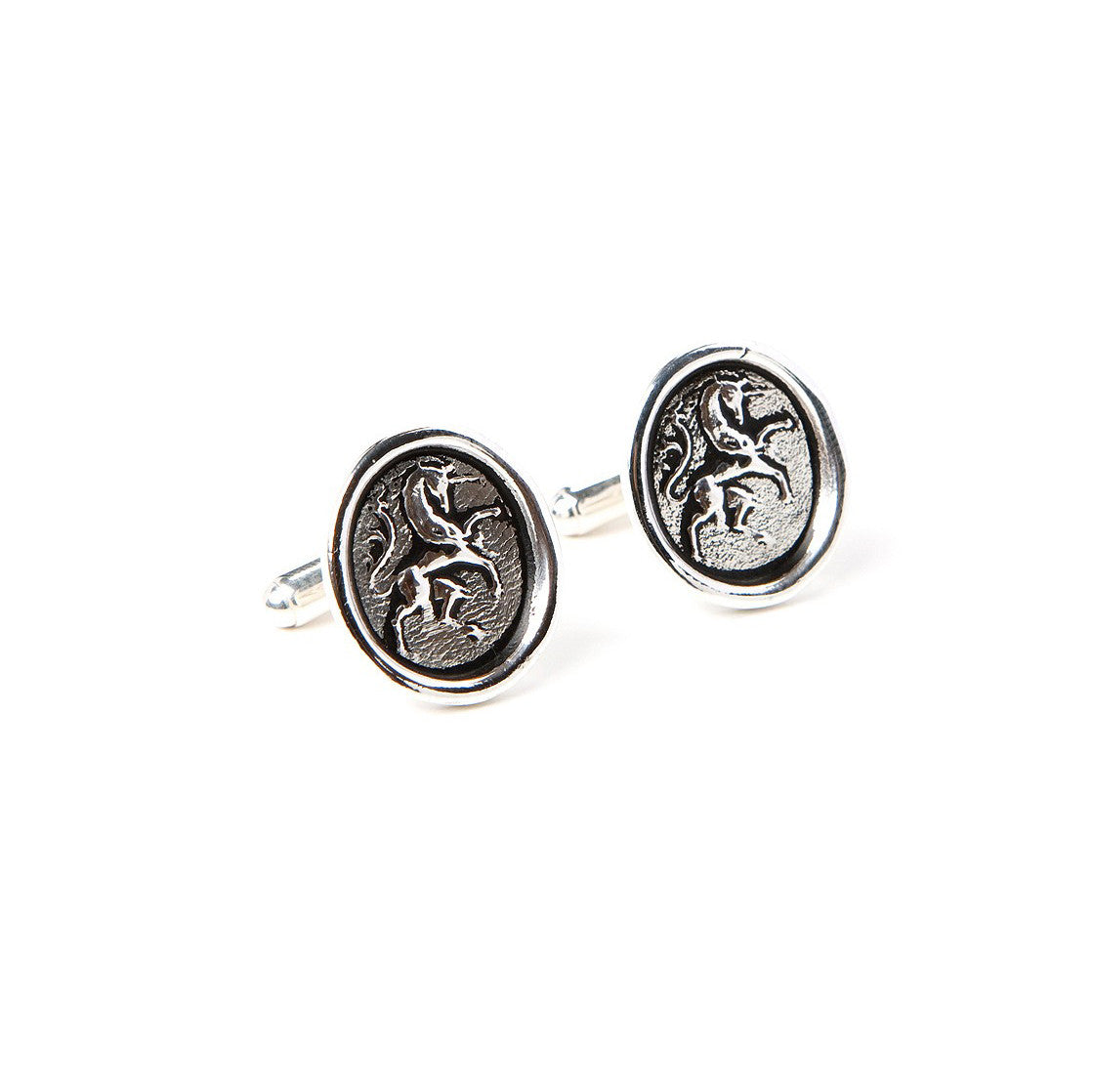 Silver wax seal unicorn cufflinks for men
