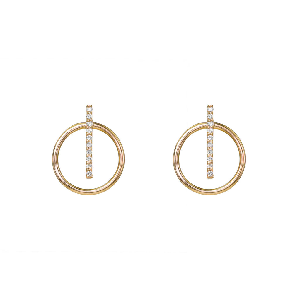 Image of Vertical Diamond Pave Bar Hoops