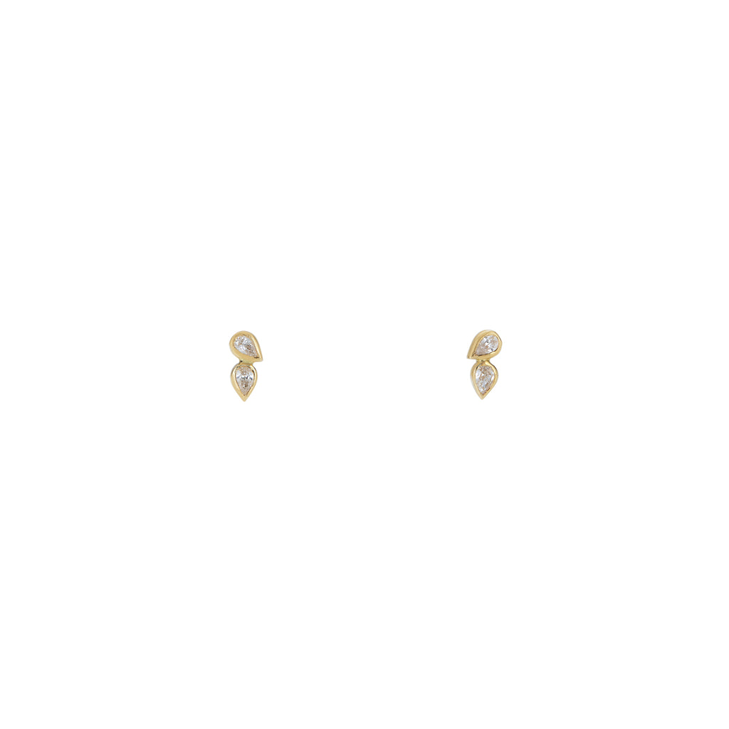 Vertical Double Tear Drop Diamond Earrings
