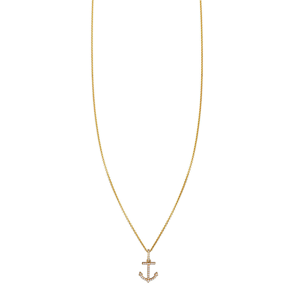 Image of White Diamond Anchor Necklace