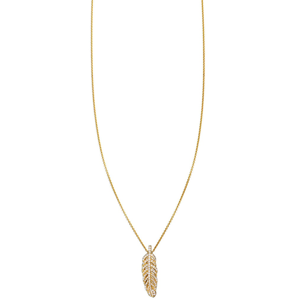 White Diamond Feather Necklace