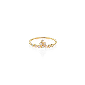 Image of White Diamond & Gold Tiara Ring