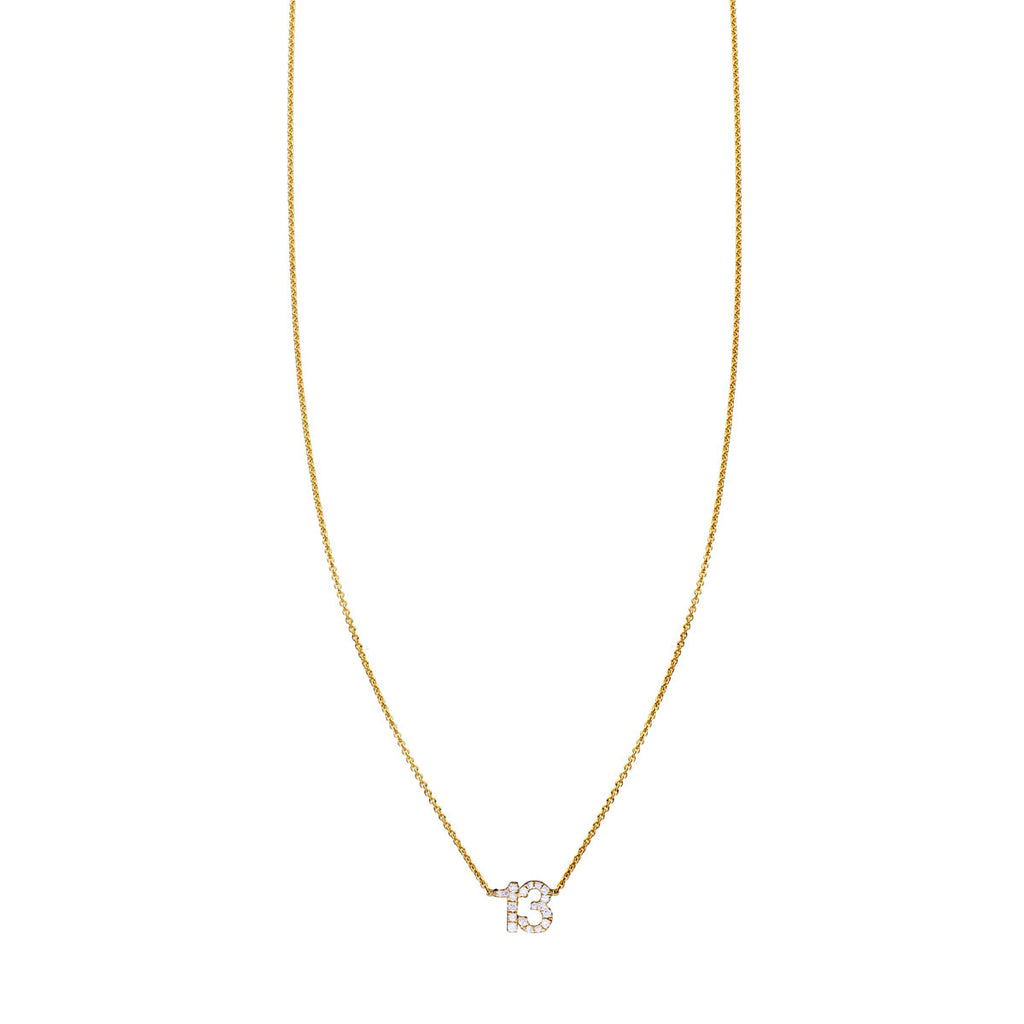 White Diamond Number 13 Necklace