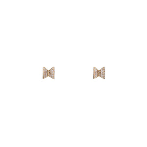 White Pavé Diamond Bowtie Stud Earrings