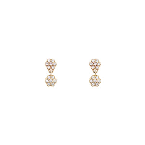 White Pavé Diamond Double Flower Earring