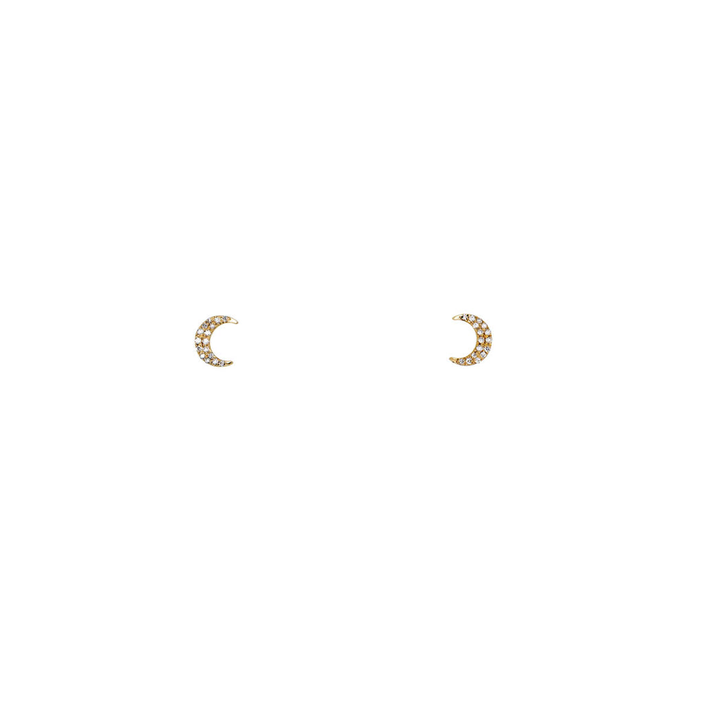 White Diamond Tiny Moon Earrings