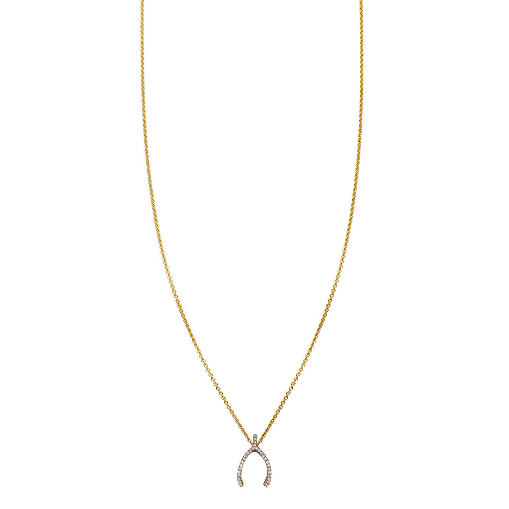 Image of White Diamond Wishbone Necklace