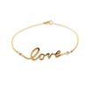 Gold cursive love word bracelet for women