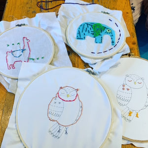 Embriodery Hoops, March Vacation Camp 2021 Fun Creative Crafts Sewing kids Newton MA