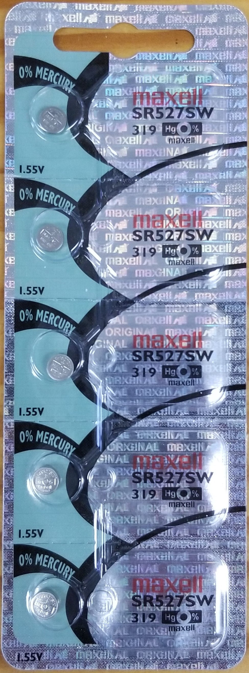 Maxell #319 SR527SW 1.55v Silver Oxide Battery - Tear Strip of 5