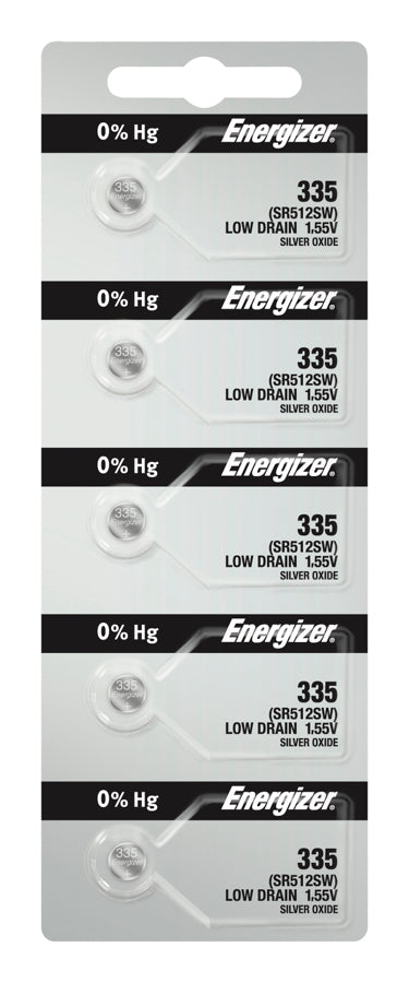 Energizer #335 SR512SW Low Drain 1.55v Silver Oxide Multi Drain Watch Battery - Tear Strip of 5