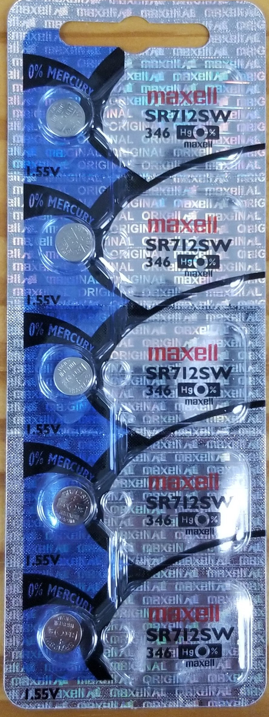 Maxell #346 SR712SW 1.55v Silver Oxide Battery - Tear Strip of 5