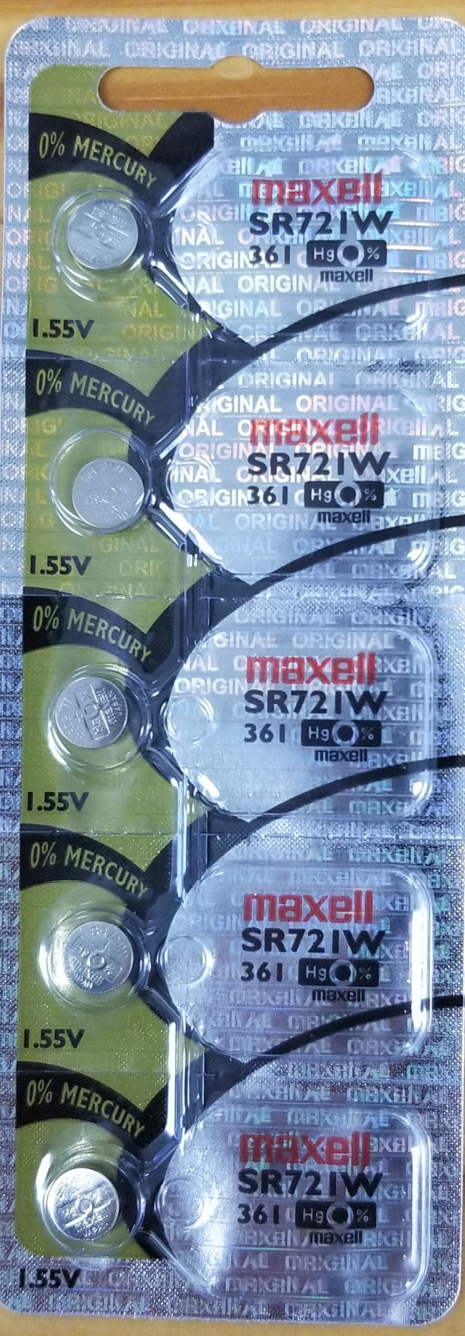 Maxell #361 SR721W 1.55v Silver Oxide Battery - Tear Strip of 5