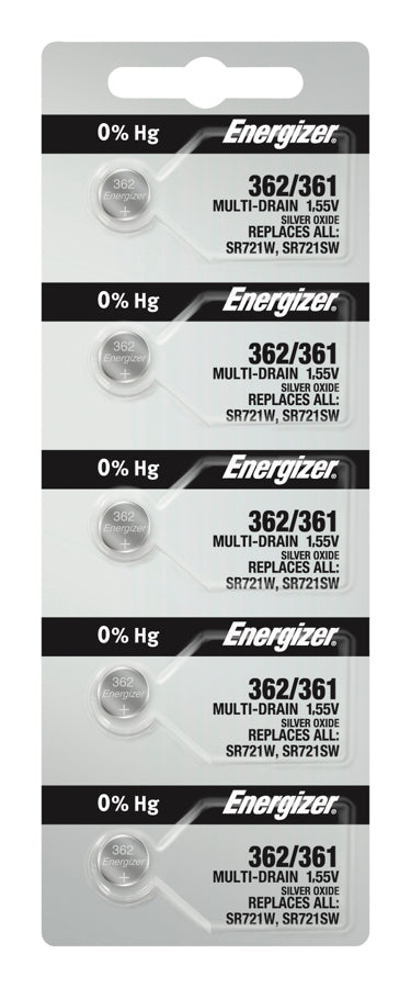 Energizer #361/362 SR721SW/ W Multi Low Drain 1.55v Silver Oxide Multi Drain Watch Battery - Tear Strip of 5
