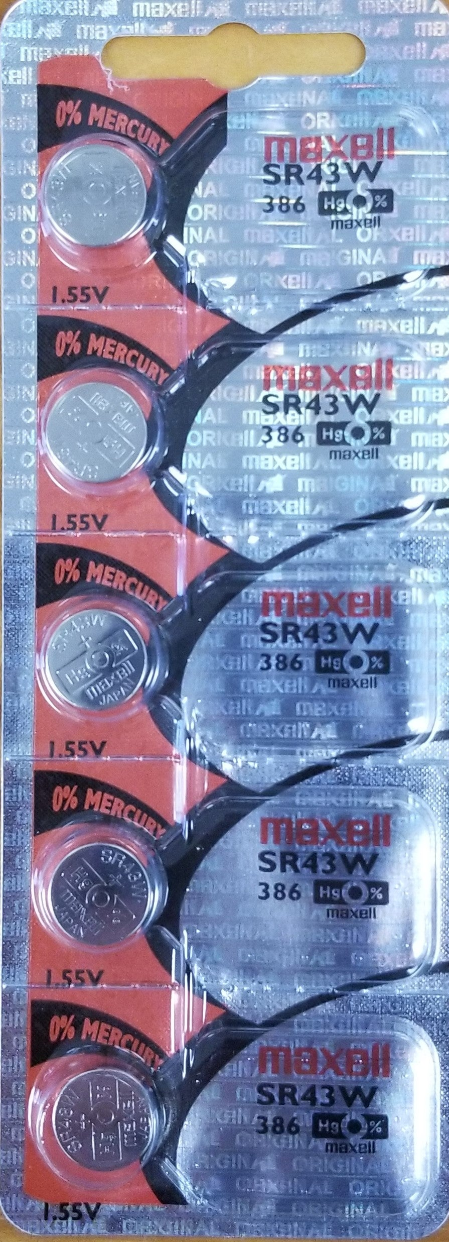 Maxell #386 SR43W 1.55v Silver Oxide Battery - Tear Strip of 5