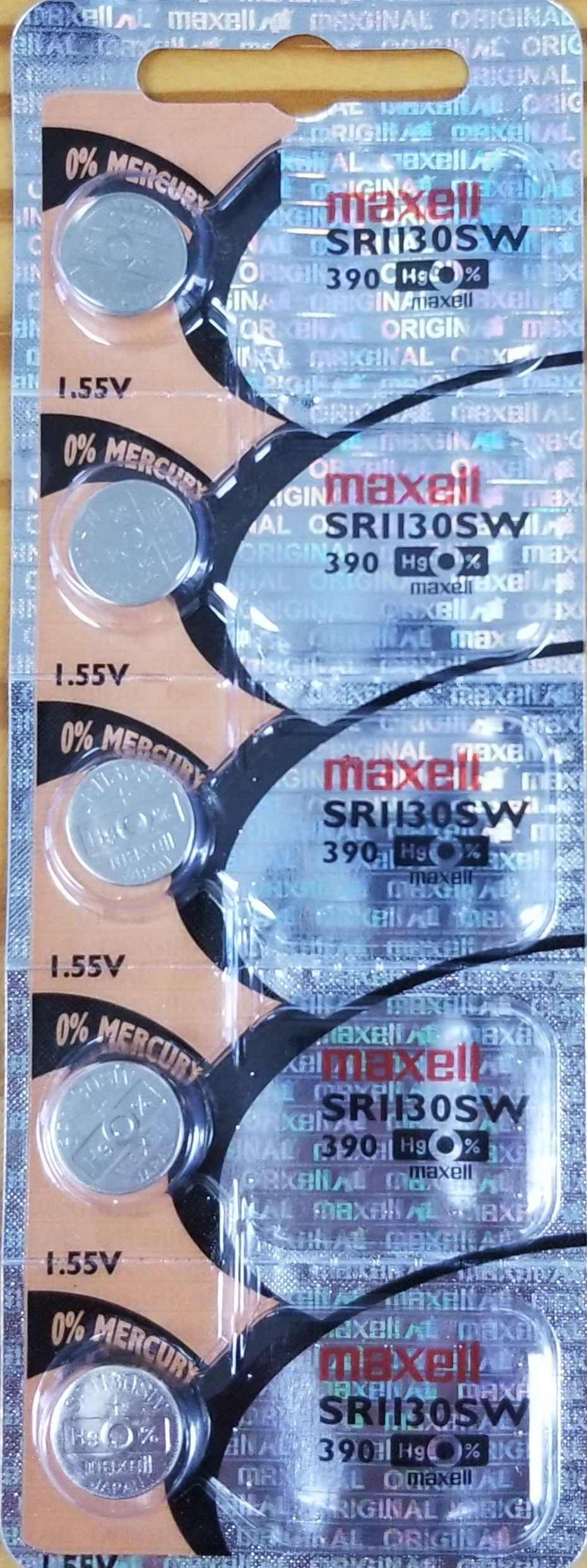 Maxell #390 SR1130SW 1.55v Silver Oxide Battery - Tear Strip of 5