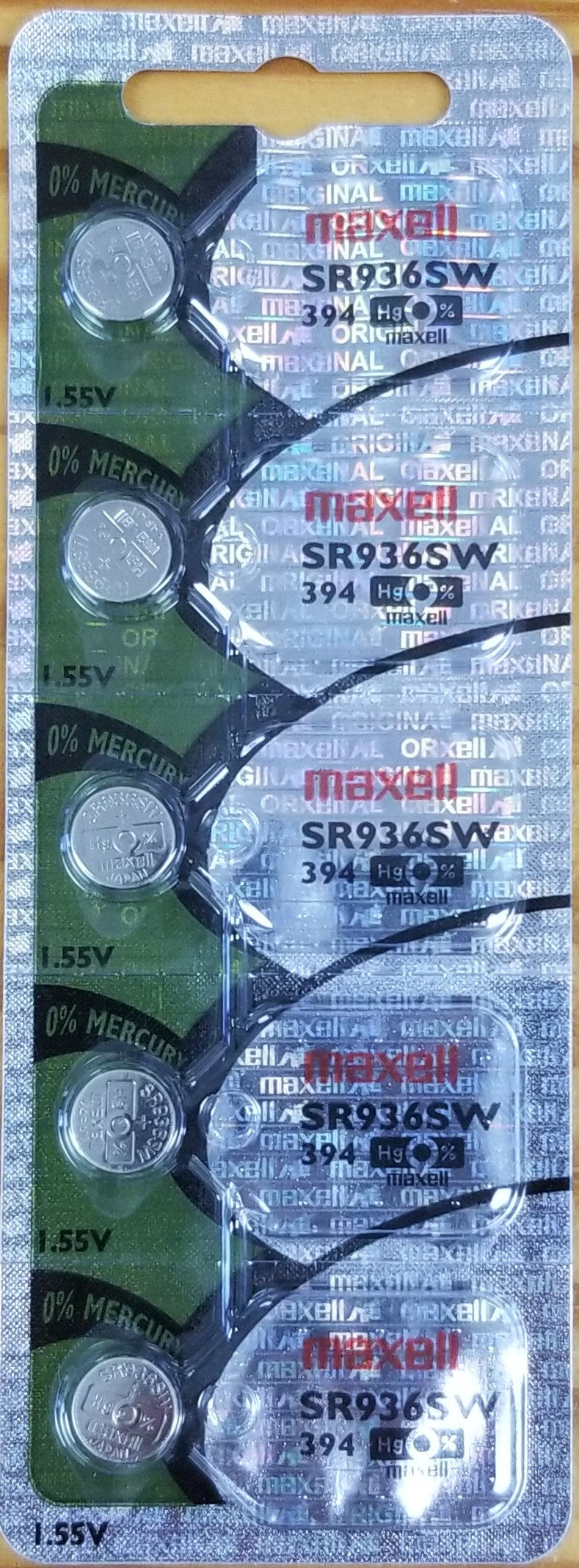 Maxell #394 SR936SW 1.55v Silver Oxide Battery - Tear Strip of 5
