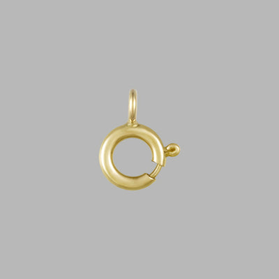 Spring Ring Clasp Gold 10KT Gold, 5mm Round Clasps | Open Jump Ring For Chain Necklace Bracelet Connectors Jewelry Making- Pack of 6