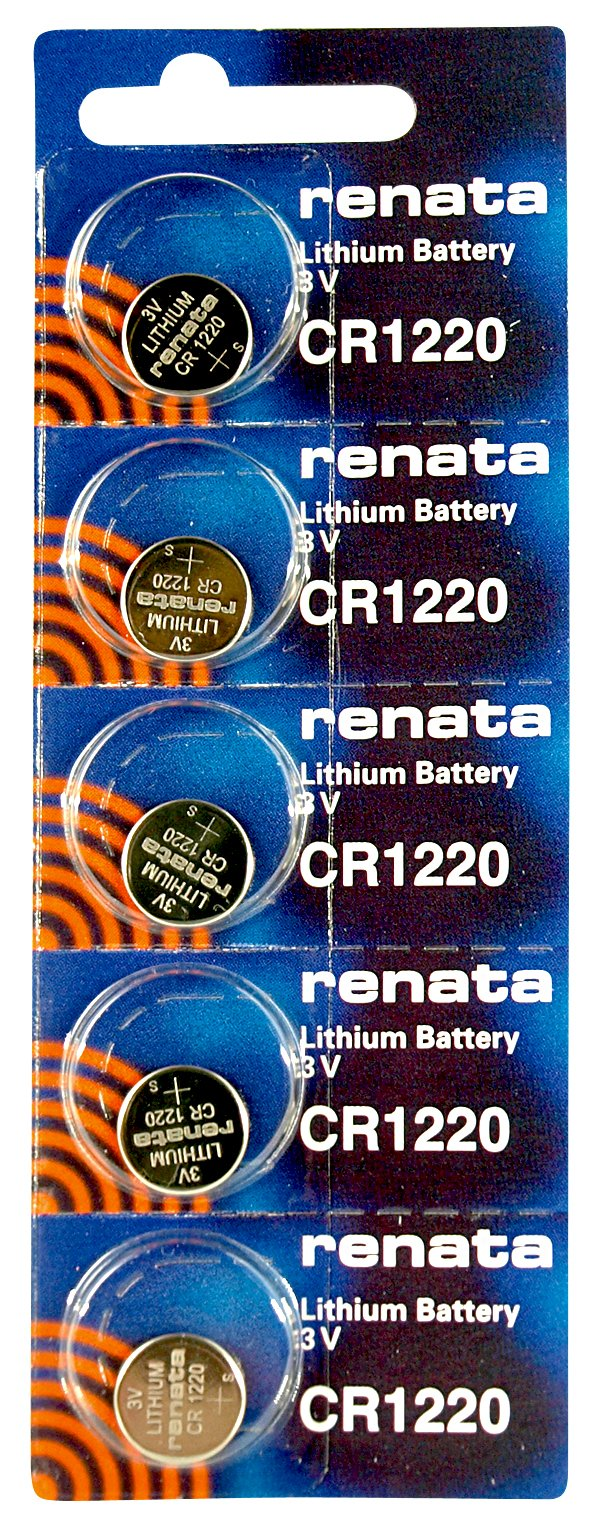 Renata CR1220 Low Drain 3v Silver Lithium Multi Drain Watch Battery - Tear Strip of 5