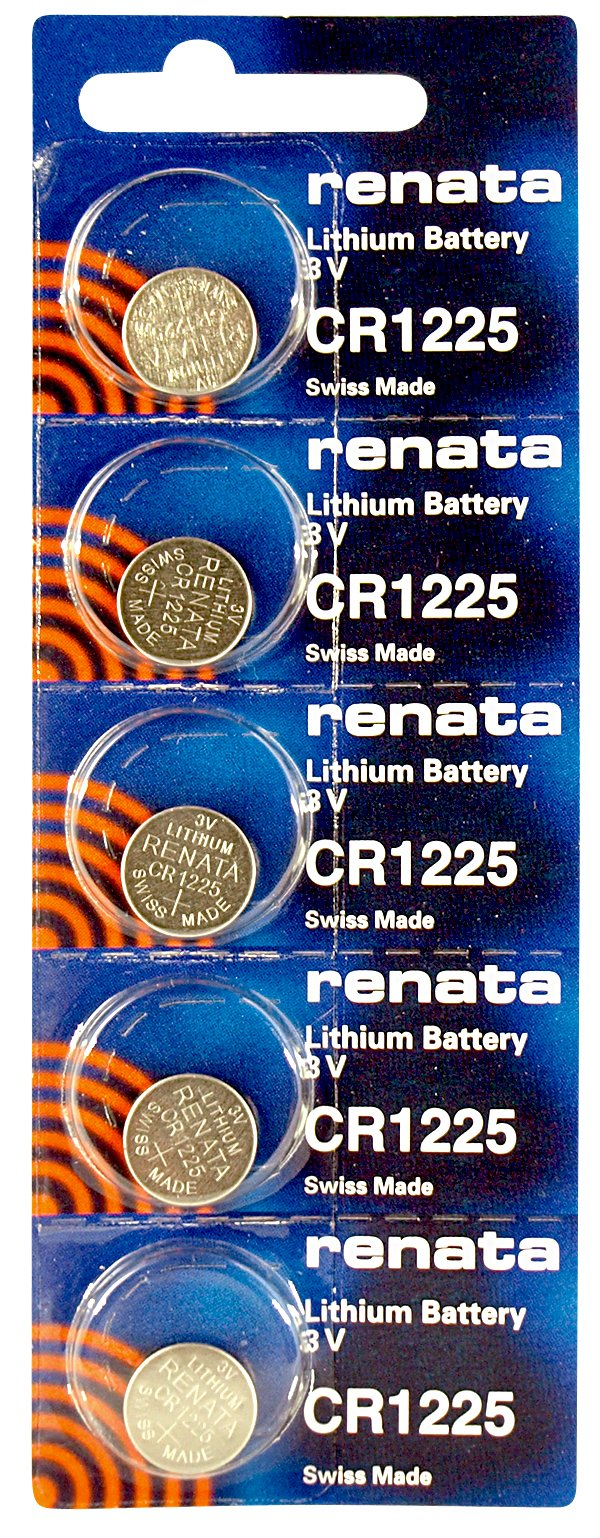 Renata CR1225 Low Drain 3v Silver Lithium Multi Drain Watch Battery - Tear Strip of 5