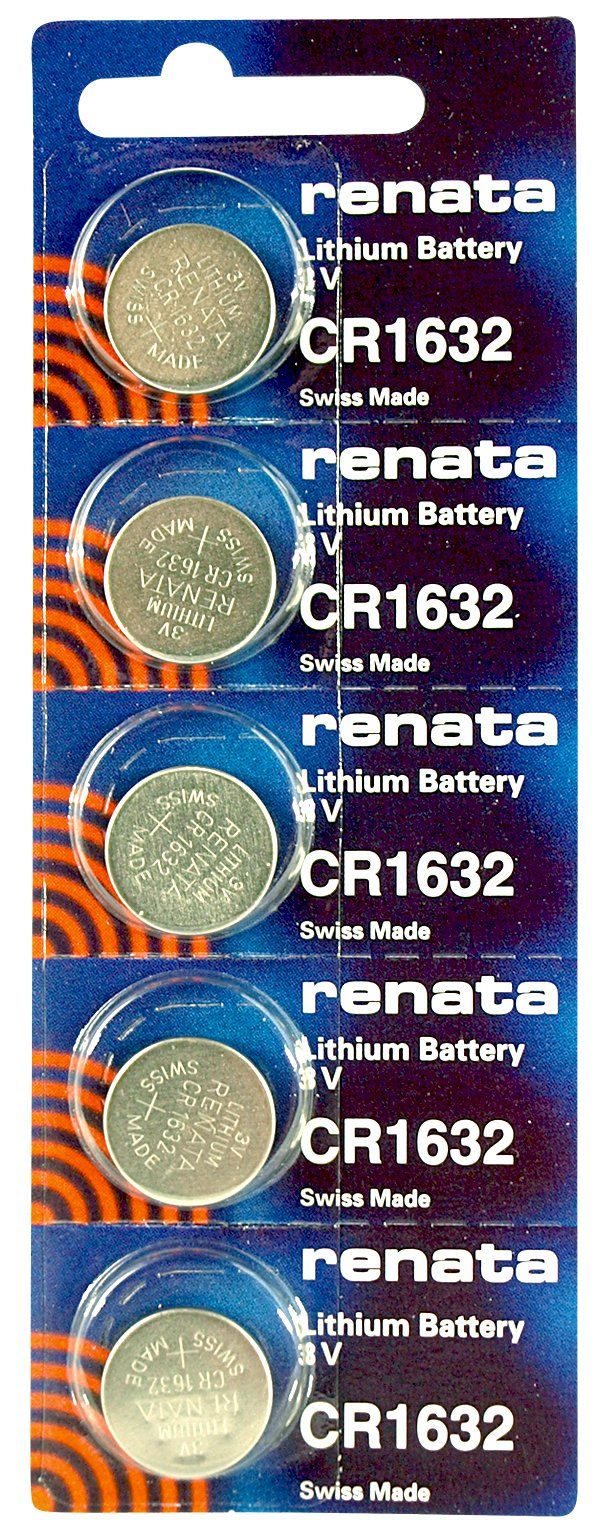 Renata CR1632 Low Drain 3v Silver Lithium Multi Drain Watch Battery - Tear Strip of 5