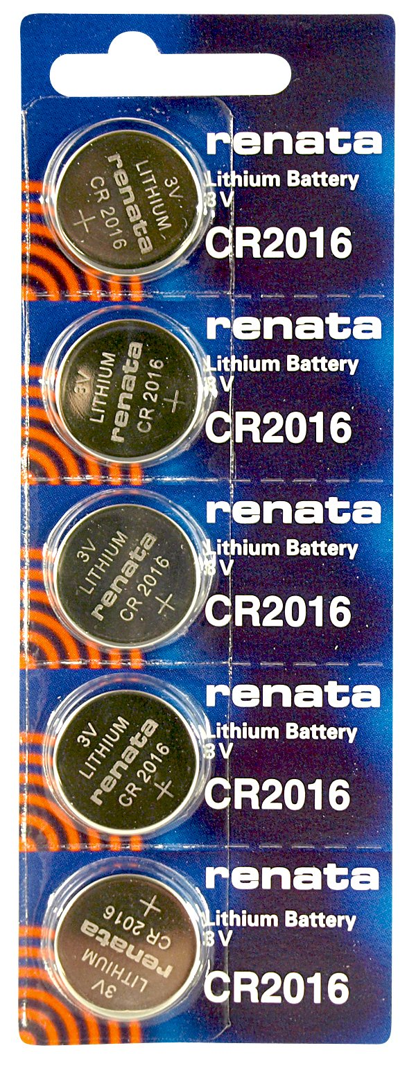 Renata CR2016 Low Drain 3v Silver Lithium Multi Drain Watch Battery - Tear Strip of 5
