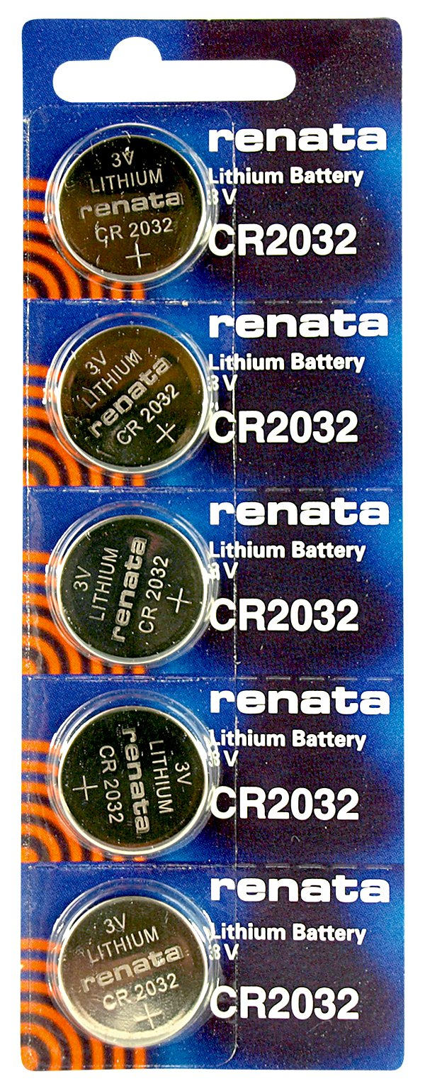 Renata CR2032 Low Drain 3v Silver Lithium Multi Drain Watch Battery - Tear Strip of 5