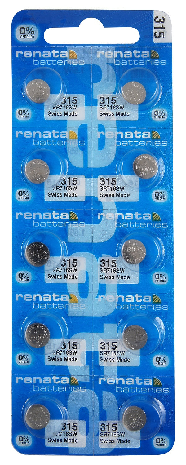 Renata #315 SR716SW Low Drain 1.55v Silver Oxide Multi Drain Watch Battery - Tear Strip of 10