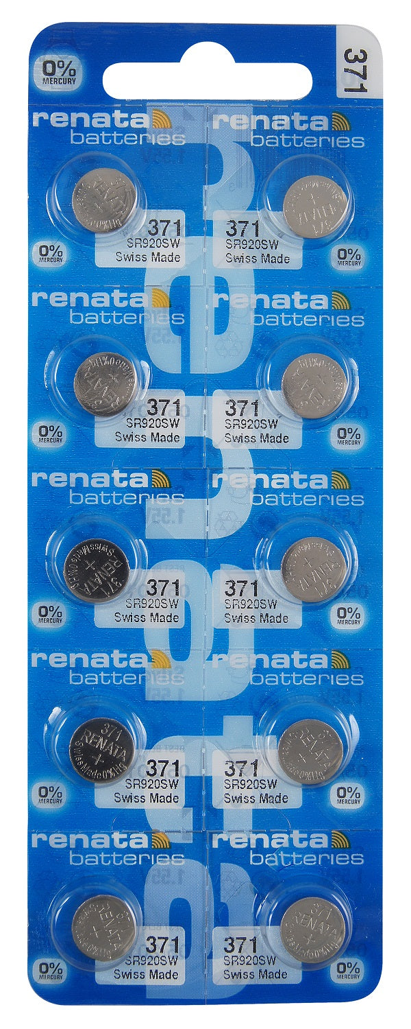 Renata #371 SR920SW Low Drain 1.55v Silver Oxide Multi Drain Watch Battery - Tear Strip of 10