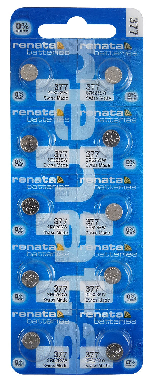 Renata #377 SR626SW Low Drain 1.55v Silver Oxide Multi Drain Watch Battery - Tear Strip of 10