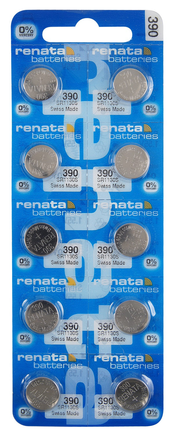 Renata #390 SR1130S Low Drain 1.55v Silver Oxide Multi Drain Watch Battery - Tear Strip of 10