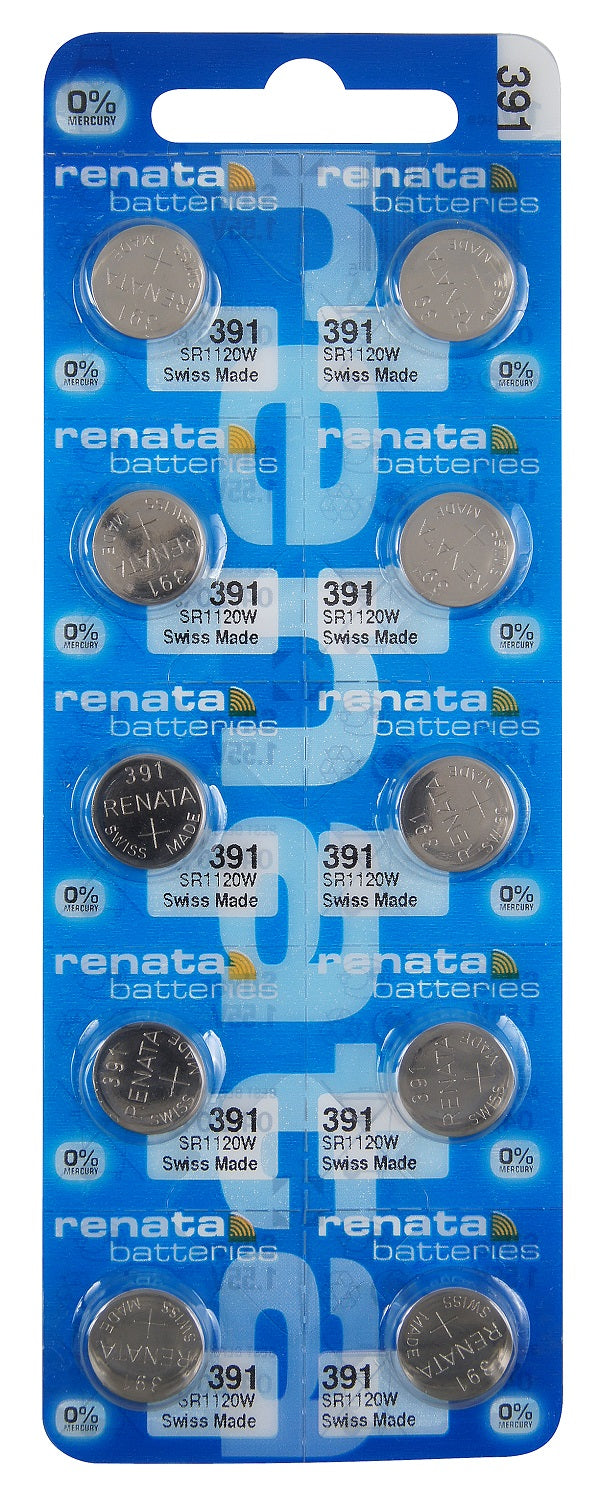 Renata #391 SR1120W Low Drain 1.55v Silver Oxide Multi Drain Watch Battery - Tear Strip of 10