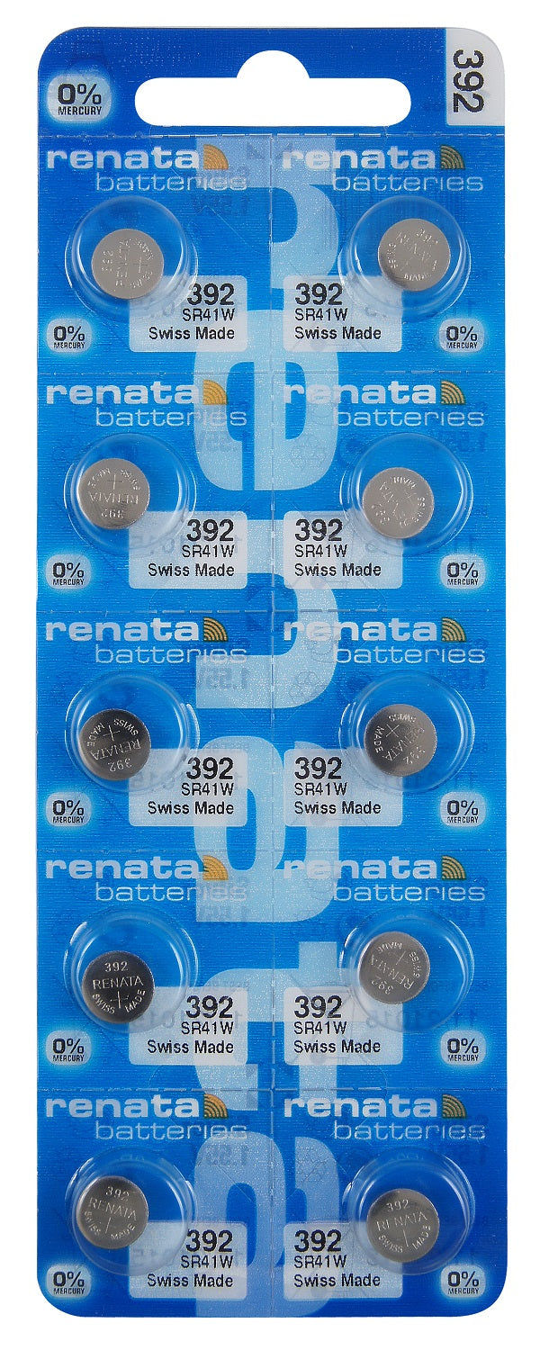 Renata #392 SR41W Low Drain 1.55v Silver Oxide Multi Drain Watch Battery - Tear Strip of 10
