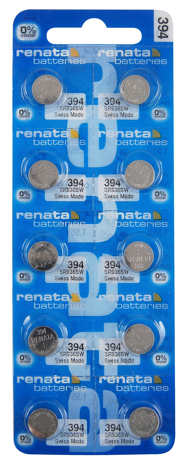 Renata #394 SR936SW Low Drain 1.55v Silver Oxide Multi Drain Watch Battery - Tear Strip of 10