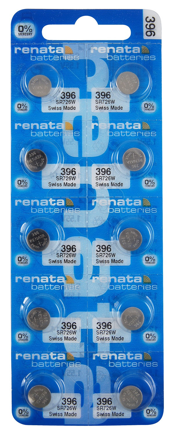 Renata #396 SR726W Low Drain 1.55v Silver Oxide Multi Drain Watch Battery - Tear Strip of 10