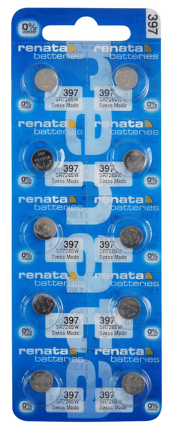 Renata #397 SR726SW Low Drain 1.55v Silver Oxide Multi Drain Watch Battery - Tear Strip of 10