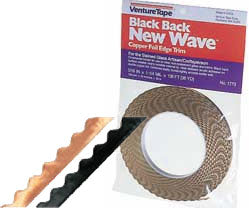 New Wave Scalloped Edge Black Backed Copper Foil Tape 5/16 inch 1.25 mil Venture Tape