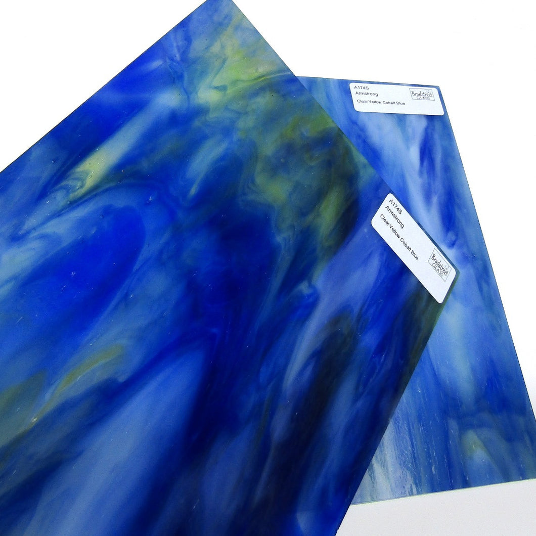 Armstrong A174S Stained Glass Sheet Opaque Streaky Clear Yellow Cobalt Blue