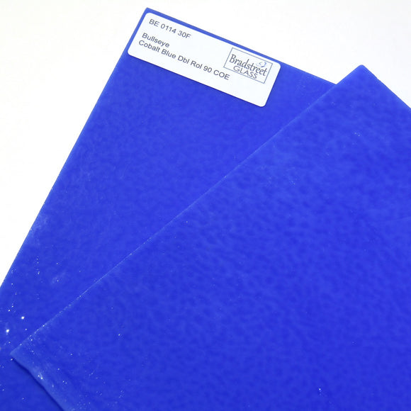 Cobalt Blue Fusible 8x8 Stained Glass Sheet 90 COE Double Rolled Bullseye 0114 30F
