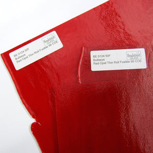 Bullseye Red Opal Thin Rolled Fusible 90 COE Stained Glass Sheet (BE 0124 50F)