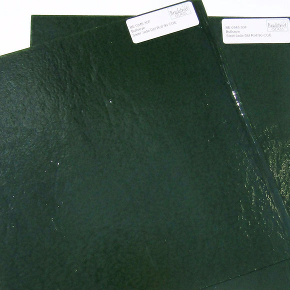 Steel Jade Green Fusible Stained Glass Sheet 90 COE Double Rolled Bullseye BE 0345 30F