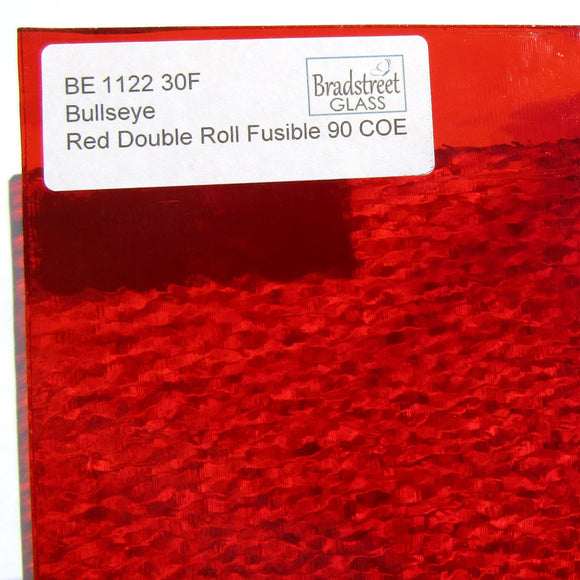 Red Cathedral Transparent Double Roll Fusible 90 COE Bullseye 7x10 Stained Glass Sheet BE 1122 30F