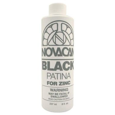 Novacan Black Patina For Zinc 8 oz Bottle