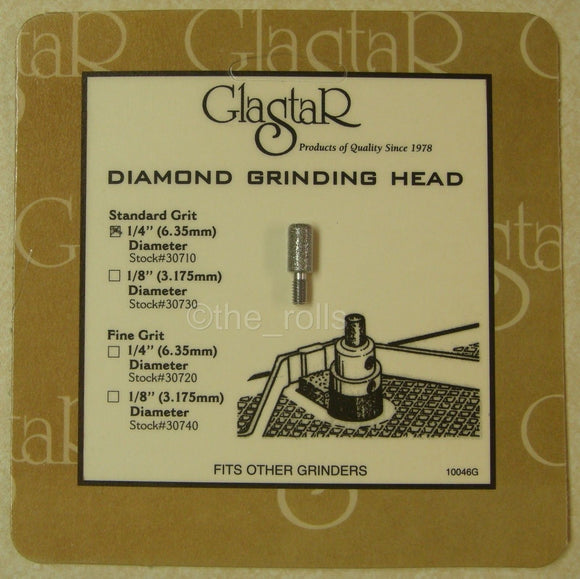 Glastar Grinding Head 1/4 Inch Standard 100 Grit Diamond Grinder Bit for Glastar Stained Glass Grinders
